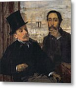 Self Portrait With Evariste De Valernes Metal Print by Edgar Degas