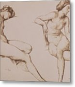 Sepia Drawing Of Nude Woman Metal Print by William Mulready