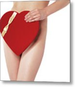 Sexy Young Woman With A Valentine Gift Metal Print by Oleksiy Maksymenko