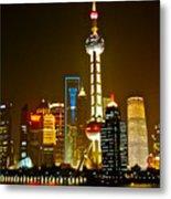 Shanghai By Night Metal Print by Dorota Nowak