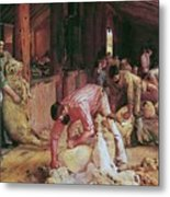 Shearing The Rams Metal Print by Pg Reproductions