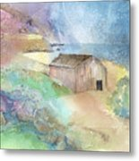 Shed By A Lake In Ireland Metal Print by Arline Wagner