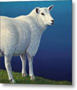 Sheep At The Edge Metal Print by James W Johnson
