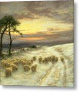 Sheep In The Snow Metal Print by Joseph Farquharson