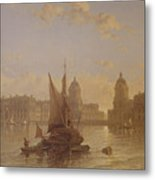 Shipping On The Thames At Greenwich Metal Print by David Roberts