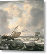 Ships On A Choppy Sea Metal Print by Hendrik van Anthonissen