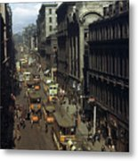 Shoppers And Trams Clog Renfield Street Metal Print by B. Anthony Stewart