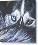 Siberian Husky Eyes Metal Print by Lee Ann Shepard