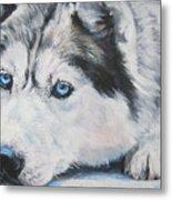 Siberian Husky Up Close Metal Print by Lee Ann Shepard