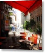 Sidewalk Cafe In Red Metal Print by Wayne Archer