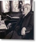 Sigmund Freud Seated In His Study Metal Print by Everett