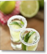 Silver Tequila, Limes And Salt Metal Print by by Marion C. Haßold, www.marionhassold.com