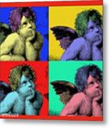 Sisteen Chapel Cherub Angels After Michelangelo After Warhol Robert R Splashy Art Pop Art Prints Metal Print by Robert R Splashy Art