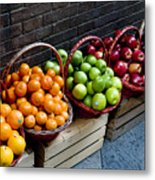Six Baskets Of Assorted Fresh Fruit Metal Print by Todd Gipstein