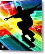 Skateboarder In Criss Cross Lightning Metal Print by Elaine Plesser
