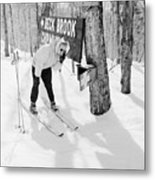 Skier's Telephone Metal Print by Titchen
