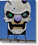Skull Fun House Sign Metal Print by Garry Gay
