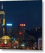Skyline Illuminated At Night From Kowloon Metal Print by Sami Sarkis