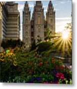 Slc Temple Sunburst Metal Print by La Rae  Roberts