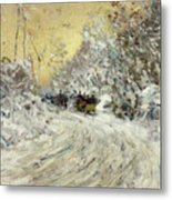 Sleigh Ride In Central Park Metal Print by Childe Hassam