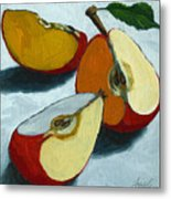 Sliced Apple Still Life Oil Painting Metal Print by Linda Apple