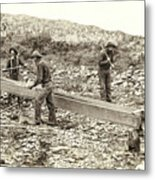 Sluice Box Placer Gold Mining C. 1889 Metal Print by Daniel Hagerman