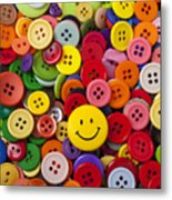 Smiley Face Button Metal Print by Garry Gay