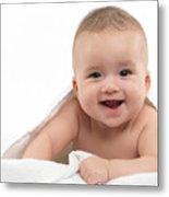 Smiling Four Month Old Baby Boy Metal Print by Oleksiy Maksymenko