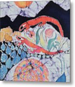 Snail With Red Efts Metal Print by Carol  Law Conklin