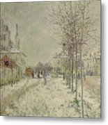 Snow Effect Metal Print by Claude Monet
