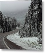 Snow On Road Through Forest Metal Print by Linda Phelps