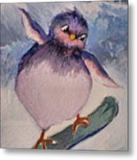 Snowboard Bird Metal Print by Diane Ursin