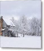 Snowy Cabin Metal Print by Benanne Stiens