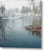 Snowy Day On The River Metal Print by Beve Brown-Clark Photography