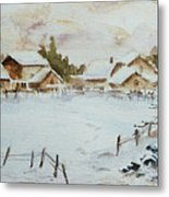 Snowy Village Metal Print by Xueling Zou