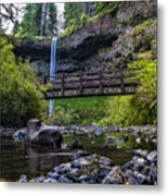 South Silver Falls With Bridge Metal Print by Darcy Michaelchuk