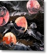 Space Eaten Peaches Metal Print by Evguenia Men