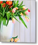 Spring Tulips On An Old Bench Metal Print by Sandra Cunningham