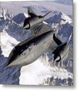 Sr-71b Blackbird In Flight Metal Print by Stocktrek Images