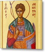 St Demetrios The Great Martyr And Myrrhstreamer Metal Print by Julia Bridget Hayes