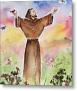 St Francis Of Assisi Metal Print by Regina Ammerman