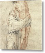 St Francis Rejecting The World And Embracing Christ Metal Print by Bartolome Esteban Murillo