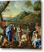 St John Baptising The People Metal Print by Nicolas Poussin