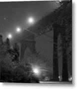 St. Johns Bridge On Snowy Evening Metal Print by Zeb Andrews