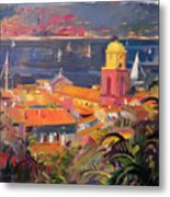 St Tropez Sailing Metal Print by Peter Graham