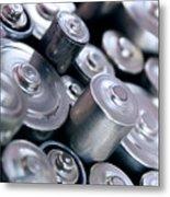 Stack Of Batteries Metal Print by Carlos Caetano