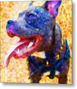 Staffordshire Bull Terrier In Oil Metal Print by Michael Tompsett