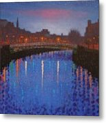 Starry Nights In Dublin Ha' Penny Bridge Metal Print by John  Nolan