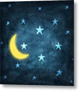 Stars And Moon Drawing With Chalk Metal Print by Setsiri Silapasuwanchai