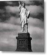 Statue Of Liberty At Dusk Metal Print by Daniel Hagerman